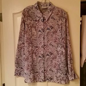 Purple long sleeve button up blouse